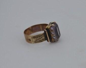 10k Rose Gold Antique Ornate Amethyst Ring Size 4.25