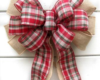 Burlap Christmas Bow, Burlap Wreath Bow, Burlap Plaid Bow, Christmas Wreath Bow, Country Wreath Bow, Plaid Wreath Bow, Country Christmas bow
