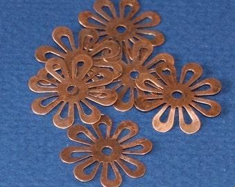 50 pcs of Antiqued copper stamp  flower links 20mm