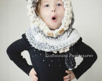 Hooded Wolf Cowl- Animal Hat- Kids Wolf Hat- Animal Hood- Girls Wolf Hat- Woodland- Forest Animal Hat- Women Teen Wolf Cowl-Teen Crochet Hat