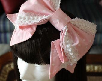 MADE TO ORDER-Lolita headbow-Sweet Lolita-Bow-Pink Bow-Fairy Kei-Lolita accessory-Lace-Ruffles-Polka Dots-Gothic Lolita
