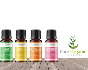 Citrus Pure Essential Oil 4 Piece Gift Set by Pure Organic Ingredients, Grapefruit Lemon Lime & Wild Orange, 15 mL Bottles, Food Grade
