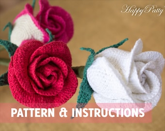 Crochet Rose Pattern - Half Open Rose (Bowl Shape) - Crochet Flower Pattern - Bouquet & Wedding Decor - Instant Download