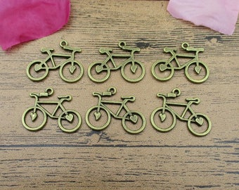 12 Bicycle Charms,Antique Bronze Tone,Double Sided-RS139