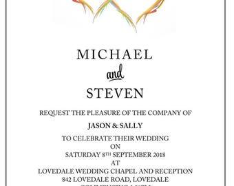 Budget Rainbow Hearts Invitation