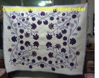 Hula quilt, King size hand quilted, Spring Flower Quilt, Hawaiian Applique, Bedspread, Homemade quilts, King, Violet flower quilts, purple