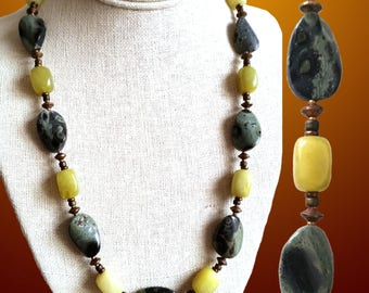 GREEN JASPER & JADE Necklace. Oval Kambaba Jasper and Olive Jade Oval Beads with Copper Discs. Hook Clasp. Green Gemstone Bead Necklace..