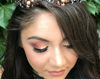 Copper And Blush Hair Crown, Princess Crown, Quinceanera Tiara, Goddess Crown, Royal Wedding Tiara, Quinceanera,