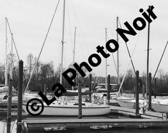 "Black and White Nautical Scene ""Salty"""