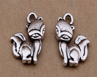 10 charms cute little foxes 11 * 15 mm antique silver