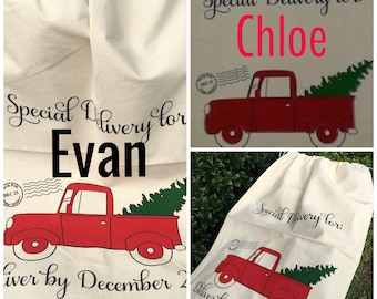Personalized Santa Sack - Red Truck Bag - Canvas Christmas Sack - Santa Bag - Santa Sack - Christmas Wrapping