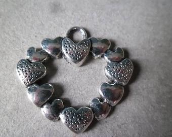 x 2 pendants/charm shape heart silver metal heart motif antiqued 25 x 27 mm