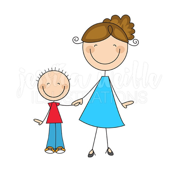 mom and son stick figures cute digital clipart commercial rh etsy com mom clip art free mom clip art free