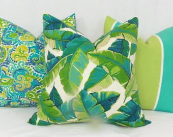 Tropical leaf Palm leaf Banana leaf outdoor pillow cover 18x18 20x20 outdoor pillow 22x22 24x24 26x26 Euro sham outdoor Lumbar pillow cover
