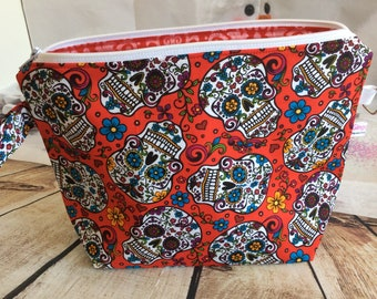 Sugar skull ...project/tote bag  (med) with strap