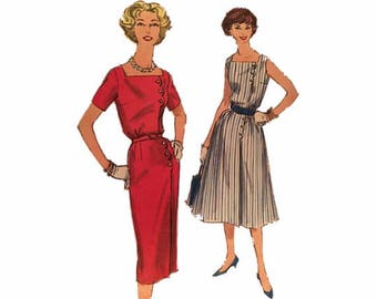 1950s Simplicity 2584, Sheath Dress or Dress w/Flared Skirt, Size 18 Bust 38, Square Neckline, Button Front, Sleeveless or Short Sleeves
