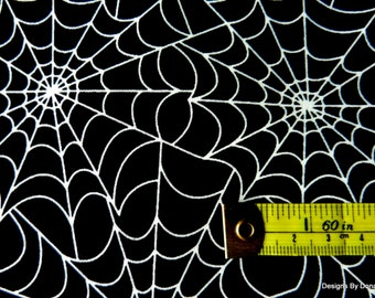 "One Fat Quarter Cut Quilt Fabric, Halloween/Goth, ""Spider Web"", GLOW N THE DARK, from Timeless Treasures, Sewing-Quilting-Craft Supplies"