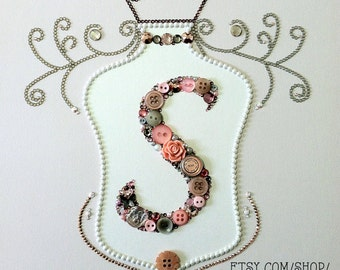 Nursery Gallery Wall | Baby Girl Nursery Decoration | Button Art | Button Monogram | Swarovski Crystals | Nursery Decoration | Nursery Decor