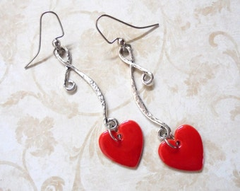 Red and Silver Heart Earrings (3378)