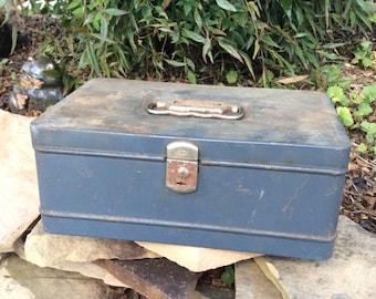 Vintage Tool Box, Vintage Blue Tool Box, Vintage Tackle Box, Blue Metal Box, Storage Box, Man Cave, Repurpose, Planter