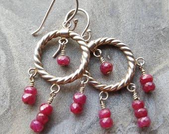 Ruby and Sterling Silver Chandelier Earrings