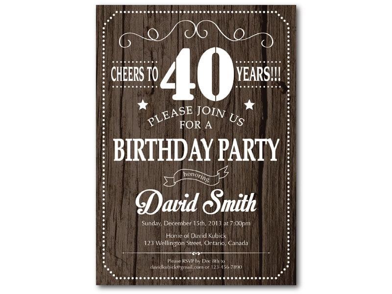 40th Birthday Invitation for men. Rustic Wood Texture