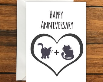 Happy Anniversary Cat blank card and envelope (A6)