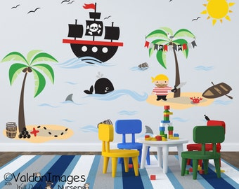 Great Pirate Adventures Wall Decal, Nursery Decals, Boys Room Decor, Ocean Wall  Decal,