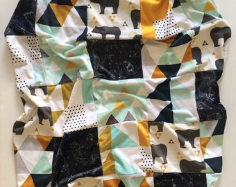 Mustard Mint patchwork minky blanket - navy blue gray - adventure bears geometric triangles constellations - boy nursery - baby shower gift