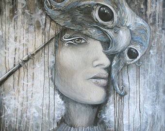 ORIGINAL PAINTING // Waiting in the Wings by Carrie Martinez // Surrealism, Portrait, Shaman