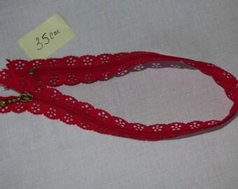 Zipper lace red 35 cm