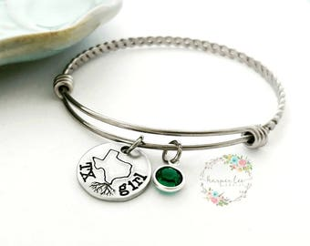 ALL 50 STATES ~ Texas Girl Bangle Bracelet ~ Blame it on my roots ~ Charm Bracelet ~ Ohio ~ Michigan ~ California Jewelry - State Pride