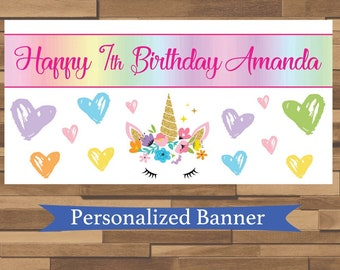 "18""x36"" Rainbow Unicorn Personalized Birthday Party Banner | 1st Birthday | Tea Party | Baby Shower | Unicorn Party Decor"