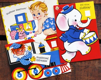 Vintage Children's Birthday Cards - Set of 3 - Unused - Vintage Greeting Cards, Vintage Cards, Children's Cards, Vintage Birthday Cards
