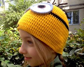 Crochet Minion Hat, Crochet Hats, Cute Cool Hat, Child Hat, Boys Hat, Girls Hat, Adult Size minion