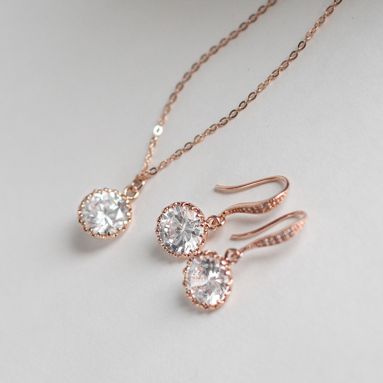 Rose gold diamond pendant jewelry set single diamond rose gold zoom mozeypictures Gallery