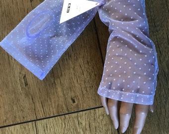 Vintage 1950s sheer lilac polkerdot fingerless gloves