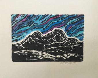 Into the Mountains - Linocut Print