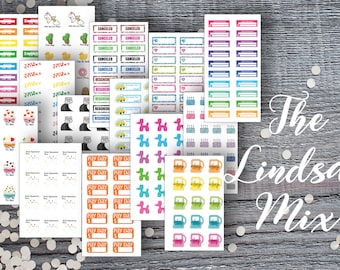 Lindsay Mix Micro Sticker Set-Micro Planner Sticker Set for Micro Binder-Tiny Sticker Compatible with Most Planners-Set of 15 Micro Sheets