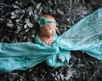 RTS, Turquoise Cheesecloth, Teal Wrap, Turquoise Baby Wrap, Newborn Cheesecloth Wrap, Newborn Photo Prop, Newborn Wrap, Baby Cheese Cloth