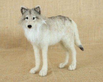Made to Order Needle Felted Wolf: Custom needle felted animal sculpture