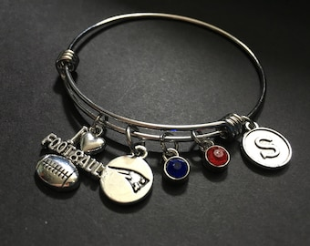 New England PATRIOTS Adjustable Stainless Steel Bangle Bracelet with I Love Football and Logo Charm, Colored Stones and Initial Charm
