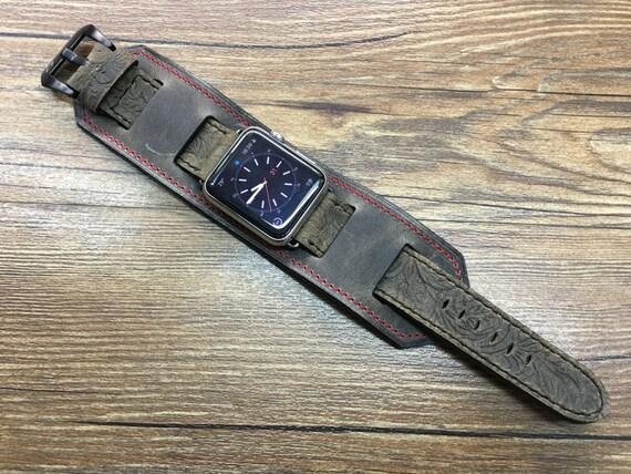 Apple Watch Band, Apple Watch Strap, Apple Watch 42mm, iwatch band, Leather Watch Band, Leather Cuff band, Full bund Strap, Free Shipping