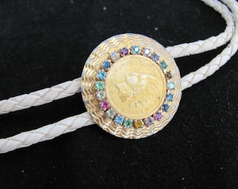 Vintage Ladies Bolo Tie with Golden 1905 Indian Head Coin