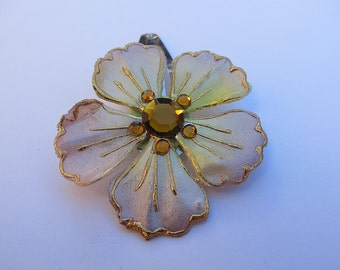Light Brown Flower Barrette, Brown Barrette, Flower Snap Barrette