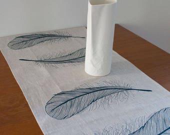 Linen table runner in navy Feather design. Dining table runner/ table topper. Everyday table linen/ home decor. Handprinted table runner.