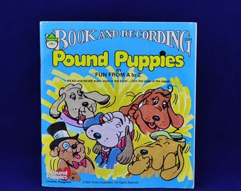 Pound Puppies in Fun From A To Z - Vintage 45 RPM Peter Pan Read-Along LP Book and Record Set #2044 - c. 1985 Tonka Corporation
