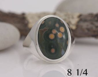 Ocean jasper and sterling silver ring, size 8 1/4, #634.