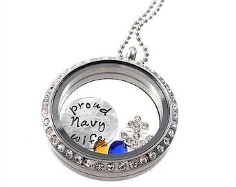 Proud Navy Wife Locket / Memory Locket / Floating Lockets