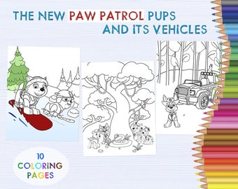 Paw Patrol Pups cars, kids coloring sheets, Cartoon character coloring pages, hand drawn coloring printable, drawing activity pages DOWNLOAD